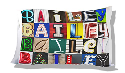 BAILEY Personalized Pillowcase featuring photos of sign letters