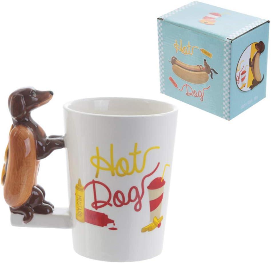 OUYAWEI Cute 3D Animal Handle Ceramic Mug with Large Capacity for Milk Tea Coffee Cup 301-400ml Brush