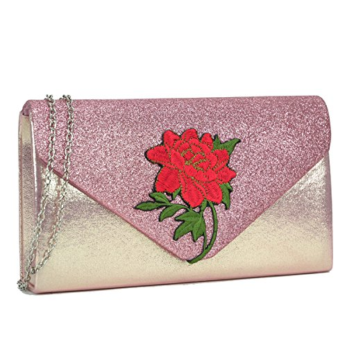 Wedding Flower Bags Bags 0ehd7158 Pink Evening Clutches Handbags Party Purse Clutch Crossbody DASEIN Women Prom 5qwHp8