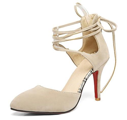 4cb72bcbb5f46 Aisun Femme Mode Bride Cheville Lacets Croisés Escarpins  Amazon.fr   Chaussures et Sacs