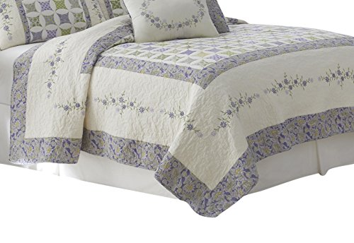 Nostalgia Home 028828369048 Quilt, Full/Queen, Ivory/Lilac