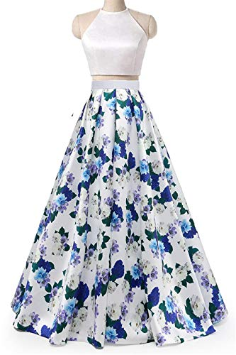 Dydsz Prom Homecoming Dresses Long for Women with Pockets Halter 2 Piece Print Floral D295 Halter3-12