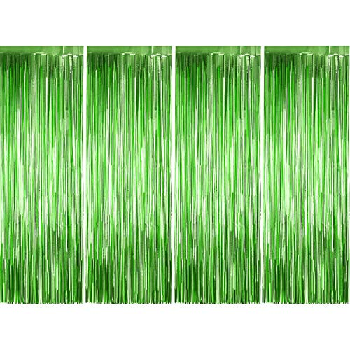 4 Pack Photo Booth Backdrops Foil Curtains Metallic Tinsel Backdrop Curtains Door Fringe Curtains for Wedding Birthday Christmas Halloween Disco Party Favour Decorations (Matt Green)]()