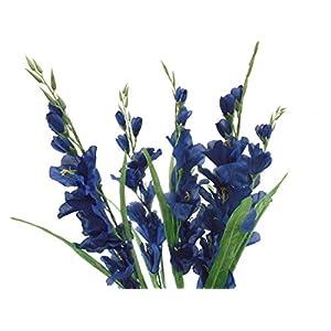 "Gladiolus Bush Artificial Silk Flowers 26"" Bouquet 5-5971 Royal Blue 18"