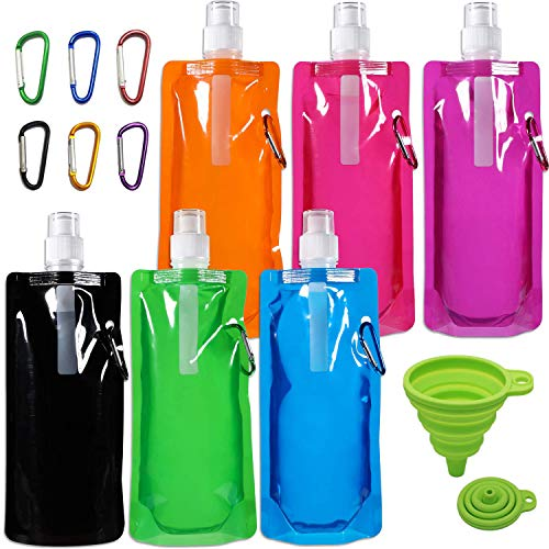 (6 Pcs 480 ml Collapsible Water Bottles with Carabiner, TuNan 6 Colors Reusable Drinking Water Bottle for Biking, Camping, Hiking Travel, with 1 Pcs Silicone Funnel and 6 Pcs Additional Clips)