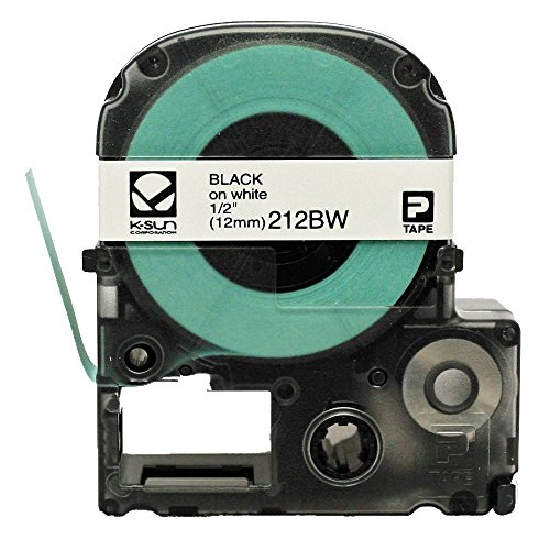 Labelshop Label Tape - K-SUN CORPORATION 212BW K-Sun 212BW Tape Black on White 1/2