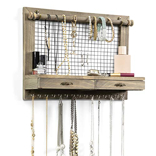 Rustic Wall Mounted Jewelry Organizer - Bracelet and Earring Holder, Wooden Shelf with Drawers - Decorative Shelves for Bedroom, Necklace Organizers and Hanging Storage for Home Decor