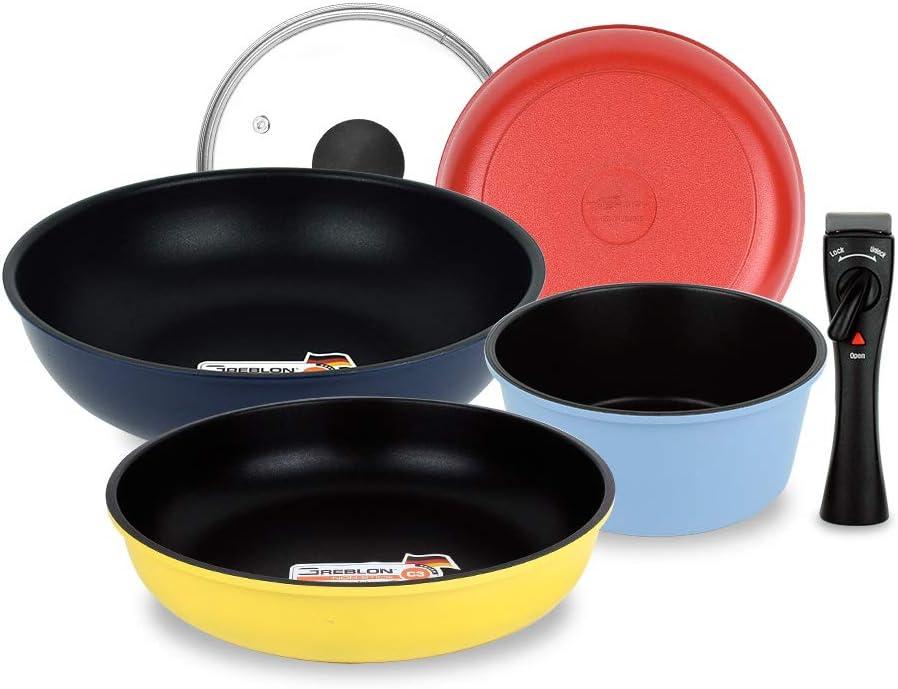 UPIT Hard-Anodized Aluminum Nonstick Detachable Induction Cookware Set, Space Saving Colorful Pots & Pans with Removable Handle