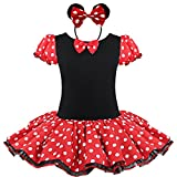 TiaoBug Girls Christmas Polka Dots Party Costume Dress Bowknot Dress Up Tutu Skirt with Headband 3-4 Years Red