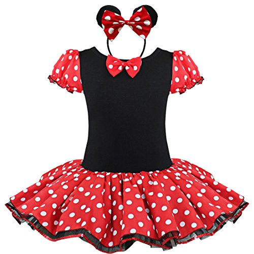 YONGHS Kids Girls Short Sleeves Polka Dots Tutu Dress with with Headband Set Halloween Cosplay Costume Red 4-5 -