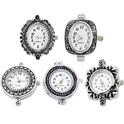 Souarts Mixed Antique Silver Color Decorative Pattern Quartz Watches Faces Pack of (Charm Watch Face)