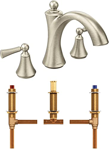 Moen T653NL-4792 Wynford Polished Two-Handle non Diverter Roman Tub Faucet with Valve, Polished Nickel