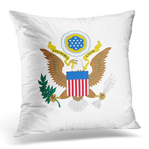 Sdamas Decorative Pillow Cover White Seal Us of Arms Emblem the United States Eagle Throw Pillow Case Square Home Decor Pillowcase 16x16 ()