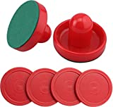 GLD Products Air Hockey Game Table Accessory Set, 2 Pushers/Goalies and 4 Pucks, Red