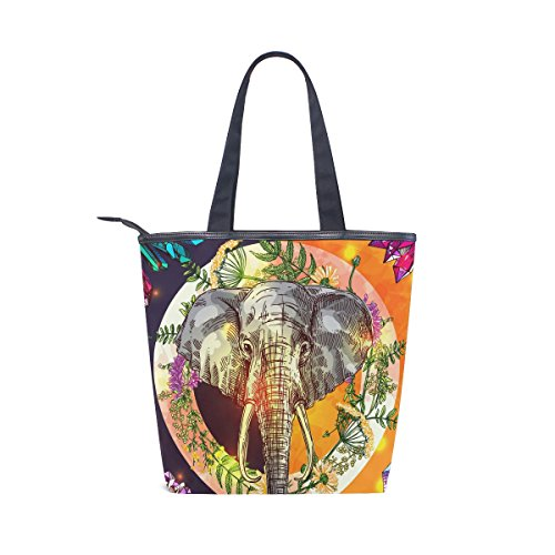 Shoulder MyDaily Canvas Womens Handbag Boho Bag Tote Tropical Elephant Style qUBpTw