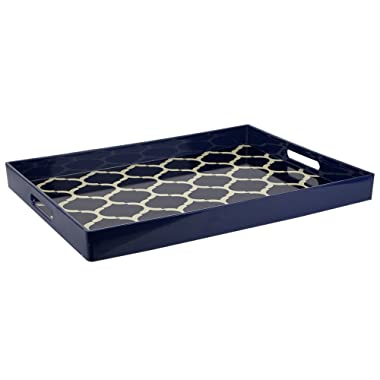 Home Basics Lattice Collection Decorative Serving Vanity Tray, Navy Blue (Serving Tray with Handles)
