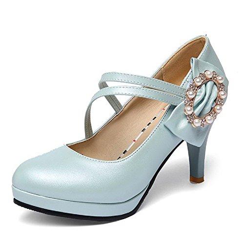 Amoonyfashion Femmes Crochet Et Boucle Ronde Fermée Orteils Talons Hauts Pu Solides Pompes-chaussures Bleu