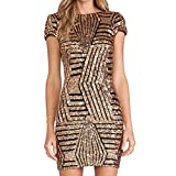 Pinklily Women's Alluring Sequins Stripes Short Sleeve Backless Sheath Dress Gold L