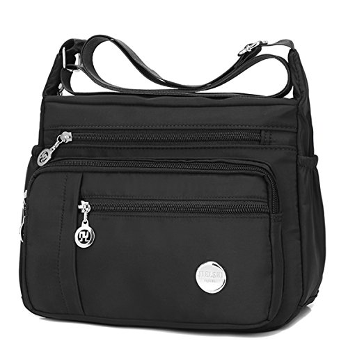 Pocket Nylon Handbag Black Waterproof Zipper Shoulder Bags Crossbody TYn7qwa