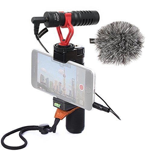 Movo Smartphone Video Rig with Shotgun Microphone, Grip Handle, Wrist Strap for iPhone 5, 5C, 5S, 6, 6S, 7, 8, X, XS, XS Max, 11, 11 Pro, Samsung Galaxy, Note and More