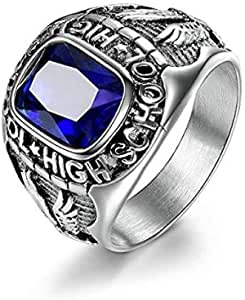 316L Stainless Steel Rings for Men with Blue Stones Engraved Eagle Size US 8