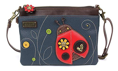fb7b08ca0aa1 Chala Mini Crossbody Handbag, Multi Zipper, Pu Leather, Small Shoulder  Purse Adjustable Strap, Ladybug - Navy