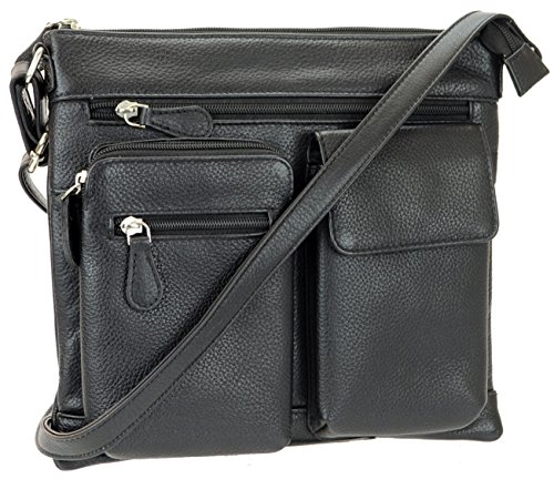 Black R Genuine Pockets Leather Bag Multi Women's Crossbody Leather amp;R xRzvwx