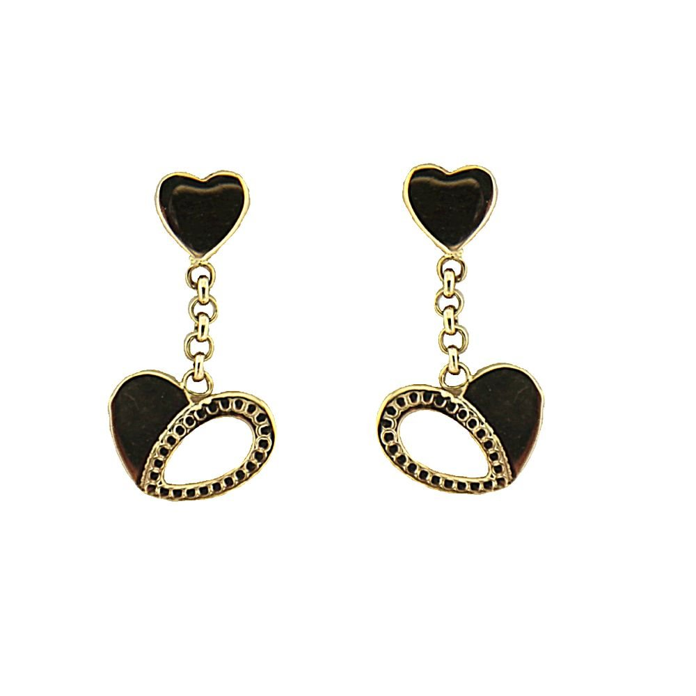 18K Yellow Gold Smal top Heart and Dangle open Heart Earrings 0.40 inch