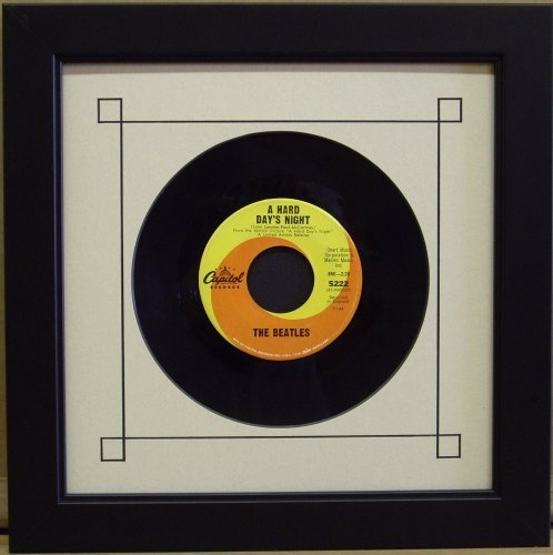 """Frame My Collection 45 Single 6 7/8"""" Inch Vinyl Record Frame Featuring White Mat Design (Black Trim) and Solid Wood Black Frame 45% UV Glass"""