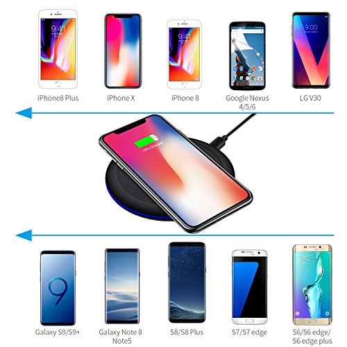 Large Product Image of Moreplus Wireless Charger, 10W Wireless Charging for iPhone X, iPhone 8/8 Plus, Samsung Galaxy Note 8/S8/S8 Plus, S7/S7 Edge, All Qi enabled Phones (No AC Adapter)