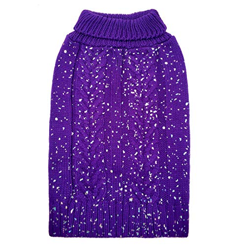 azuza Fashion Dog Sweater Turtleneck Dogs Pullover Knit Back Length 16'' Fall Winter Warm Sweater Purple by azuza