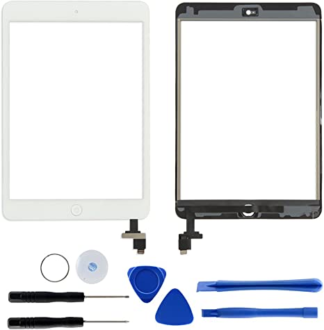 For iPad Mini 1 2 Touch Screen Glass Digitizer Replacement IC+Home Button White