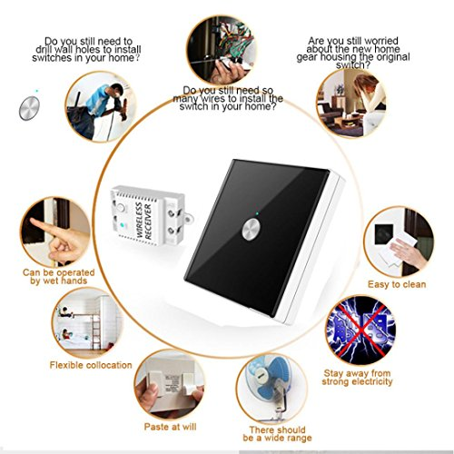 Nacome Wireless Wall Switch Lighting Control, Remote Operation,Capacitive Glass Wireless Wall Switch (Black) by Nacome (Image #4)