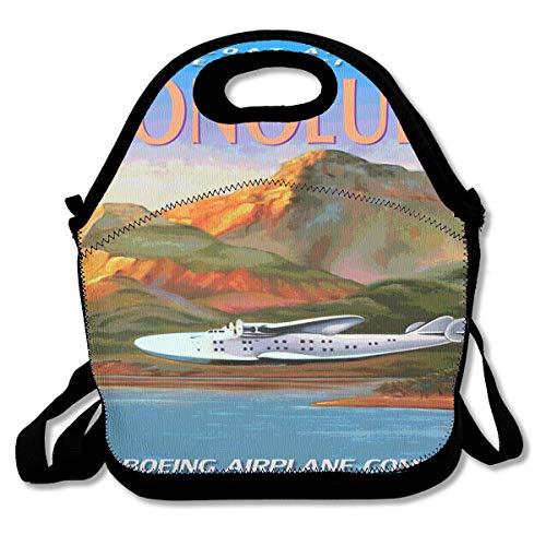 HONOLULU Boeing 314 CLIPPER Flying Boat Sea Plane Travel Poster Lunch Bag Custom Bento Box Picnic Cooler Bag Lunch Tote Bag For Women Men