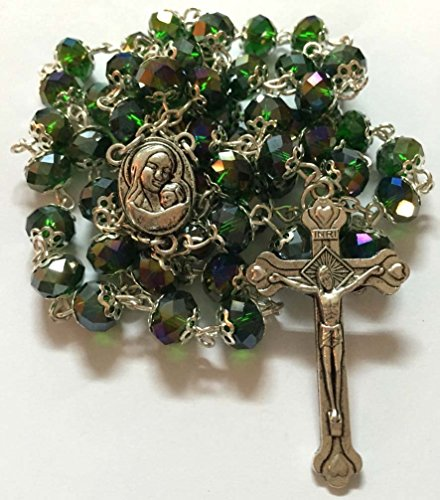 Light Gray Crystal (Glass Crystal Beads Rosary with Holy Soil Silver Crucifix (Pink, Red, Green, Purple, Light Blue, Dark Blue, Black, Clear, Gray) (Green))