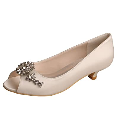ae62d3e83da3 Wedopus MW625 Women Peep Toe Low Heel Rhinestone Satin Comfortable Wedding  Prom Shoes Size 4 Ivory