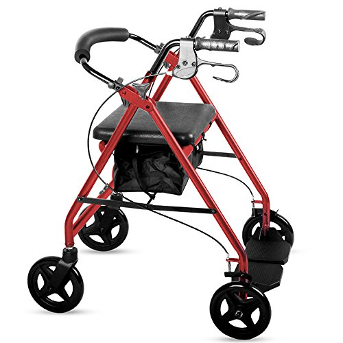 DR MJ Rollator Walker with Seat Seniors Accessories Folding Transport Chair  with Bag Non-Slip Rolling Rollator Light Weight Aluminum Alloy adjustable