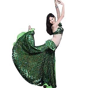 WQWLF Trajes de Danza del Vientre Disfraz de Rendimiento Femenino Lado Partido Sujetador/Falda 2