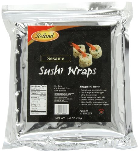 Roland Sushi Wraps, Sesame, 20 Sheets (Wrappers Use Spring Roll)