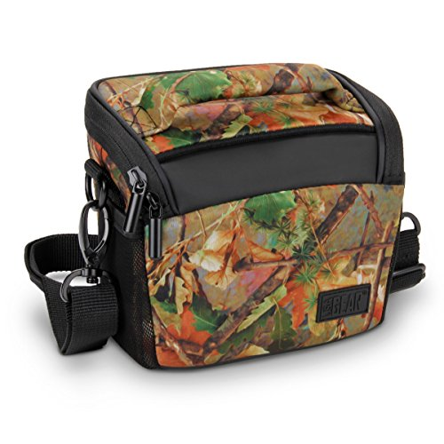 USA GEAR Bridge Camera Bag (Camo Woods) w/Protective Neoprene Material, Rain Cover and Adjustable Dividers - Compatible W/Nikon Coolpix/Canon PowerShot/Sony Cyber-Shot/Panasonic Lumix & More (Case Camouflage Camera)