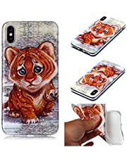 Miagon for iPhone X/XS Soft Case,Slim Shockproof Animal Pattern Flexible TPU Back Protective Cover Bumper,Tiger