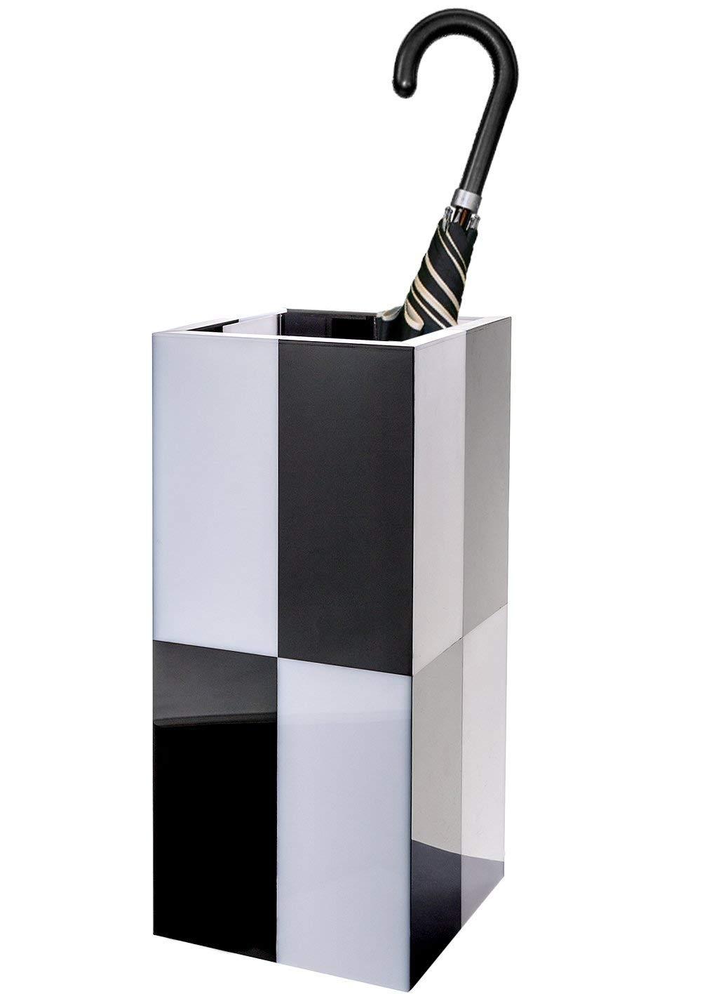 Dualplex Super Quality Umbrella Stand, Checkerboard Umbrella Holder, Durable Acrylic Material, Hallway Entry Décor Square Shape