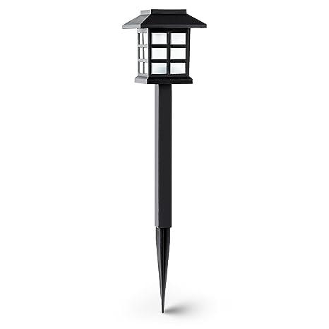 oneConcept Nagano lámpara de jardín diseño japones bateria carga solar duración 6 horas(6 unidades farolas, luces LED ...
