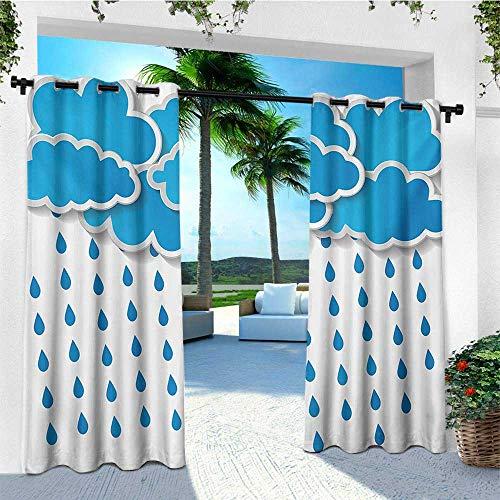 Rain, Outdoor Patio Curtains, Trippy Convective Cloud Group Figures Like Savannah Forecast Drips Theme Autumn Rain, for Pergola W84 x L108 Inch Blue White