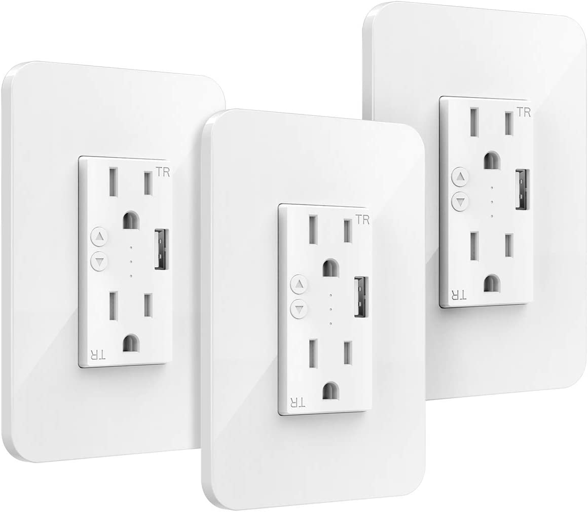 Orbecco Smart In-Wall Socket, WiFi Smart Embedded Wall Plug Outlet Socket with 2 Outlets and 1 USB Port, Compatible with Alexa/Google Home, No Hub Required, 3-Pack, White