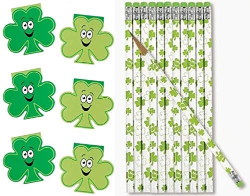 HAPPY DEALS ~ 48 pc Party Pack - St Patrick's Day Shamrock Notepads (24) and Pencils (24)- Party Favors and prizes