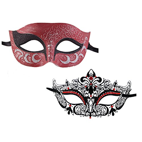 Xvevina Black Silver Red Masquerade Laser Cut Classic Halloween Masquerade Masks For a (Dead Fairy Face Paint)