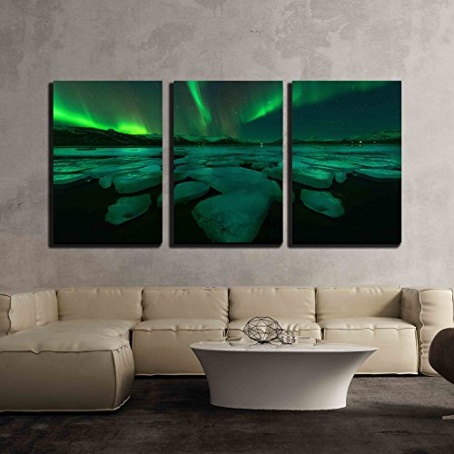 Northern Lights Aurora Borealis in the Night Sky over Beautiful Lake Landscape x3 Panels