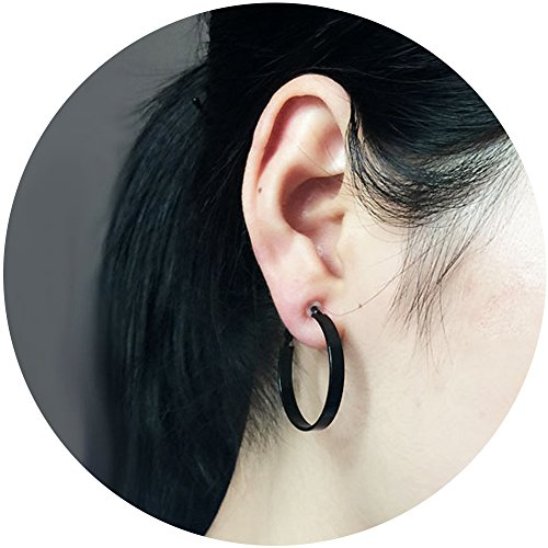 Aifeer Non-Pierced Big Circle Clip On Earrings Fashion Round Wide Hoop Ear Cuffs Black (30mm) (Round Pierced Earrings)