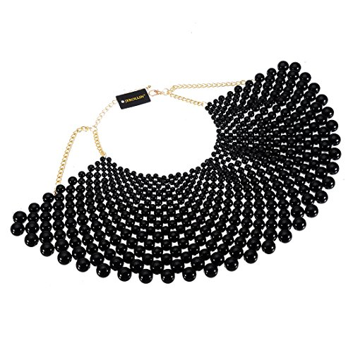 Fashion Jewelry Chain Black CCB Resin Beads Charm Choker Chunky Statement Bib Necklace ()